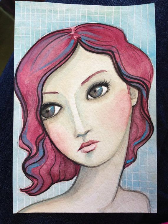 Original OOAK 4.5 x 6 Mixed Media acrylic colored by Pennystamper
