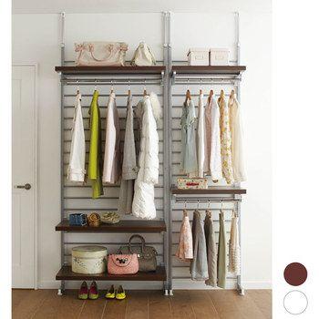 突っ張り式の壁面クローゼットシステム。棚板はひっかけるだけで好みの高さに合わせることができます。実用性の高い商品です。