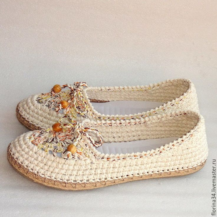 Купить Балетки вязаные Helen, белый, хлопок - обувь ручной работы, женская обувь, подарок