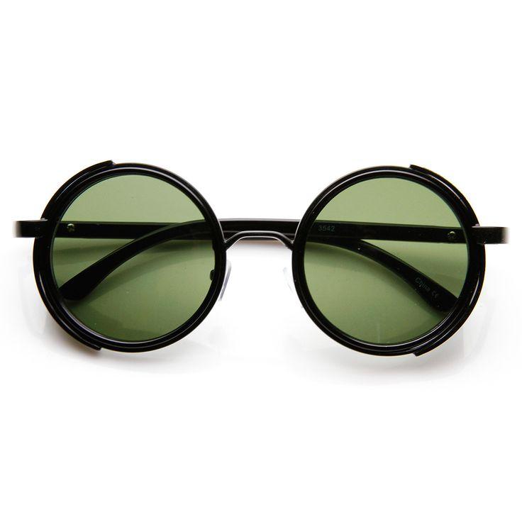 Studio Cover Faux Leather Side Shield Steampunk Round Sunglasses