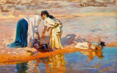 Étienne Dinet - Au bord de l'oued