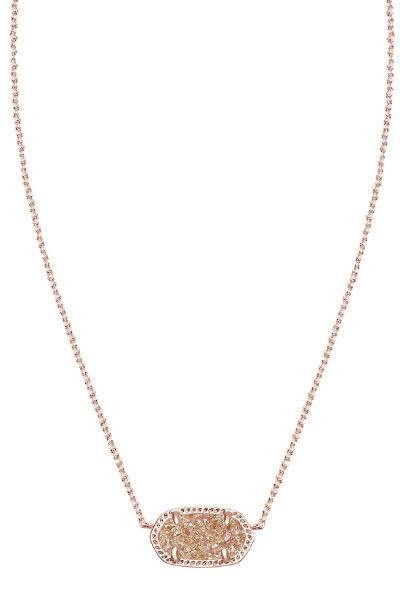 ELISA PENDANT NECKLACE IN ROSE GOLD DRUSY by Kendra Scott