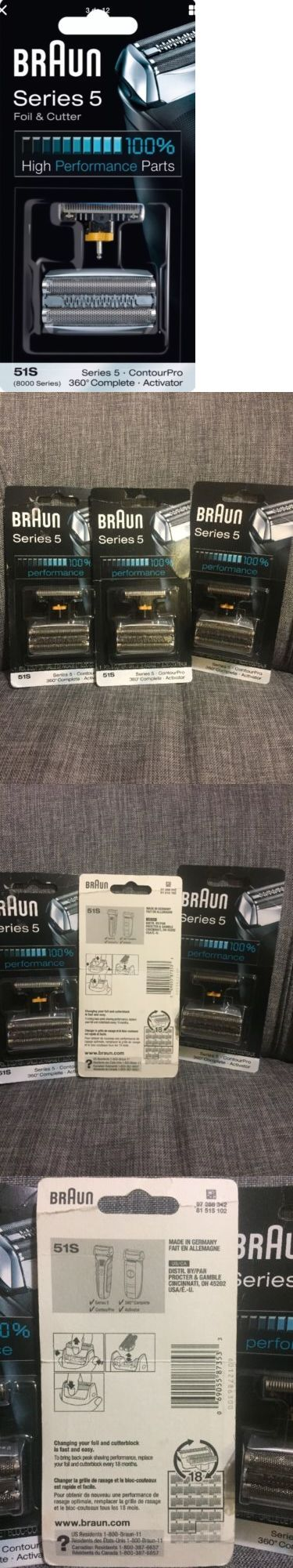 Shaver Parts and Accessories: Lot Of 3 Braun Series 5 51S Replacement Parts, Foil Head Shaver Razor Blade BUY IT NOW ONLY: $60.0