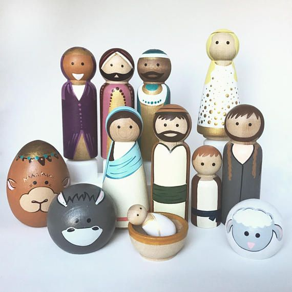 This listing is for a full set of nativity peg dolls. This includes the Holy Family of three peg dolls painted as Mary, Joseph (both 3.5 in) and Baby Jesus (1.25 in) as well as the additional 5 large peg dolls (3.5 in) painted as three wise men, an angel, and an adult shepherd. Also one