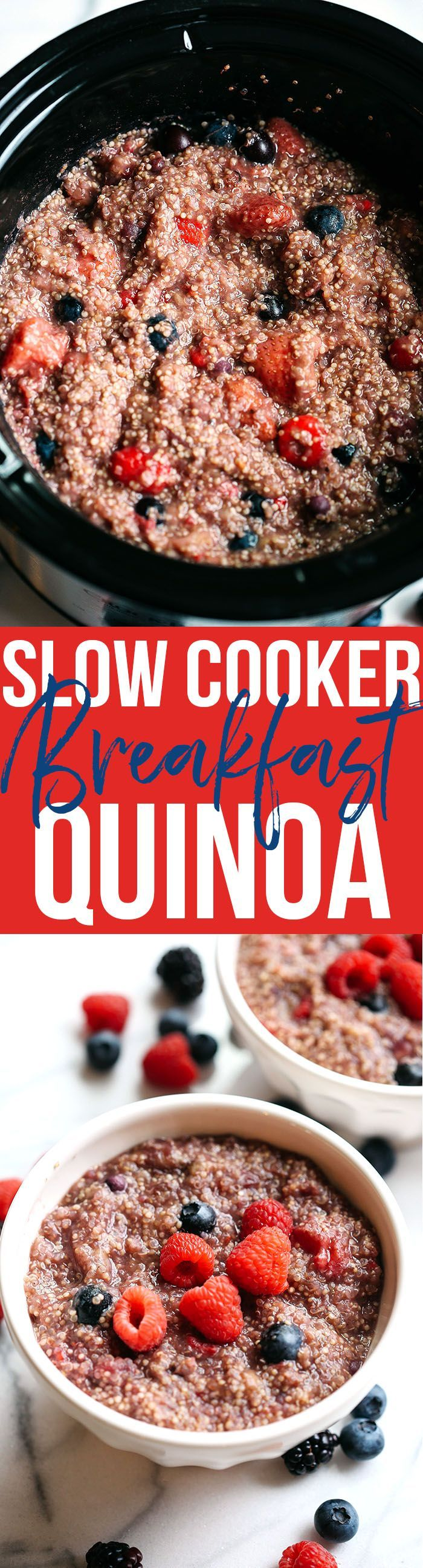 This protein-packed Slow Cooker Berry Breakfast Quinoa is the perfect way to start your mornings and can easily be made by throwing just a few simple ingredients into your crock pot!