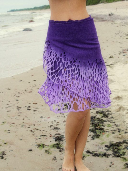 Felted purple Levander skirt lace Felt light by DosethHandmade