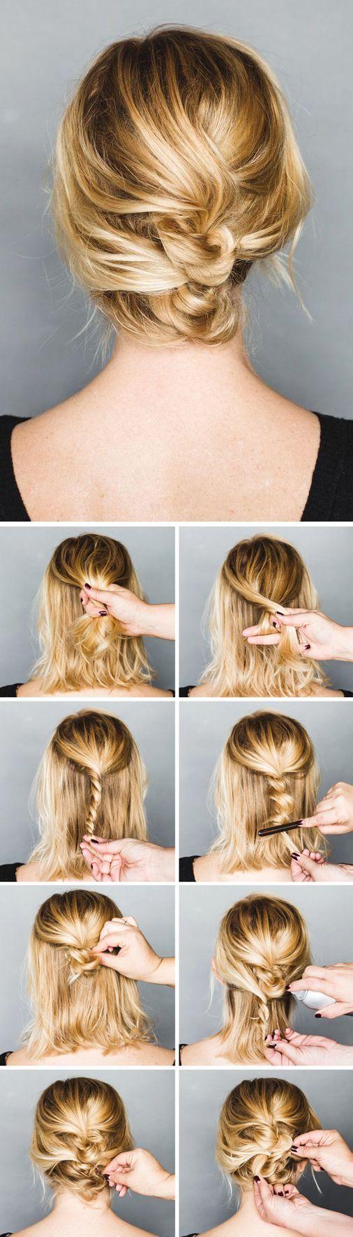 mittellange Haare | hochstecken | verwirbelt