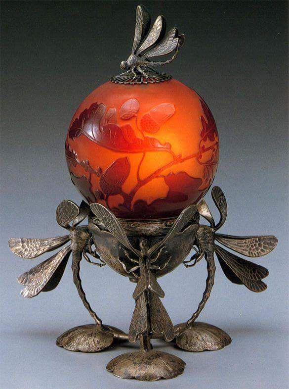 Dragonfly lamp by Emile Galle, 1900. Art Nouveau