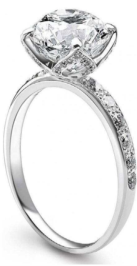 """""""Delphine"""" platinum ring with solitaire diamond and pavé diamonds by Fred"""