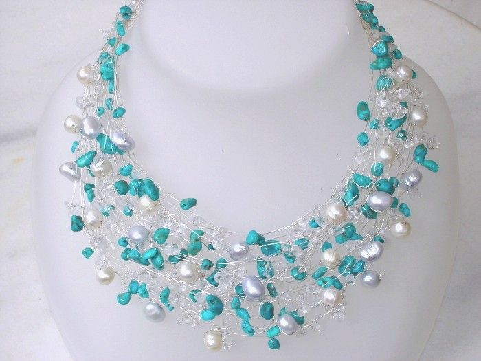 Beach Summer Wedding Necklace Silver Turquoise Real Pearls Nautical Wire Wrapped Modern Unique jewelry. $116.00, via Etsy.