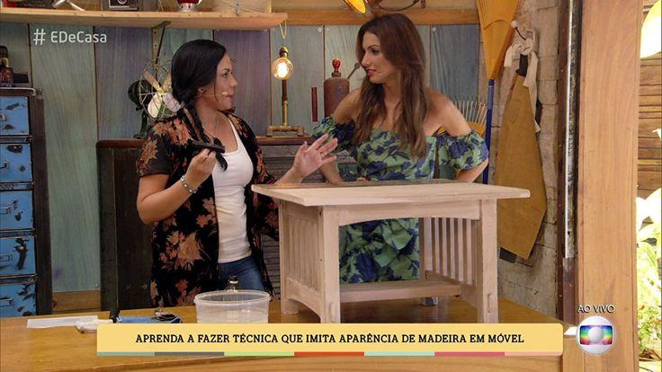 Aprenda a renovar móveis usados com técnica que imita textura da madeira  No 'É de Casa', a restauradora Tatiana Ribeiro ensina como fazer