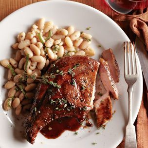#pork Chops Agrodolce With Herbed Bean Salad