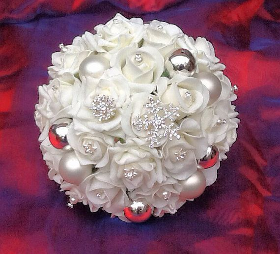Christmas+Wedding+Bouquet+Ivory+by+BridalBloomsbyRachel+on+Etsy,+£45.00