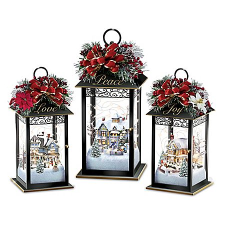 Thomas Kinkade Always in Bloom Light Up Lantern Table Centerpiece Collection