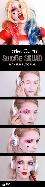 Via Creators.co   Harley Quinn 'Suicide Squad' Makeup Tutorial by Miranda Van Rijssen