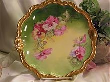 "BRILLIANT PANSIES by ""CHOPIN"" Gorgeous Limoges France PLAQUE Charger Plate Artist Signed Floral Victorian French Art China Painting of PANSY FLOWERS George Borgfeldt Coronet Circa 1900"