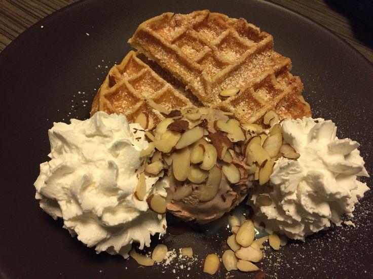 Waffle with whippingcream