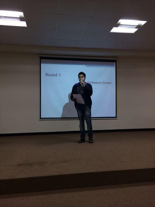 Vishesh Gupta of Batch 2015 at Extempore event. ....