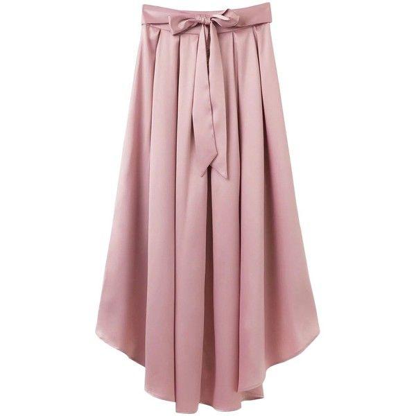 Bowknot Asymmetrical Skirt Light Pink ($32) ❤ liked on Polyvore featuring skirts, asymmetrical skirt, red asymmetrical skirt, red skirt and light pink skirt