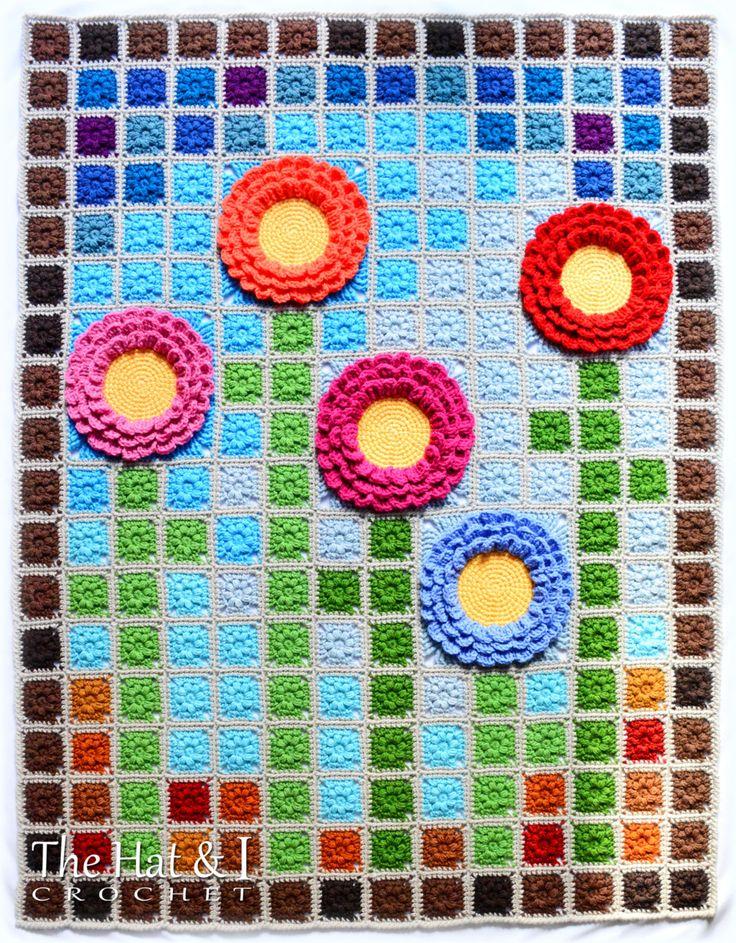 Garden Mosaic:pixel crochet blanket pattern by TheHatandI