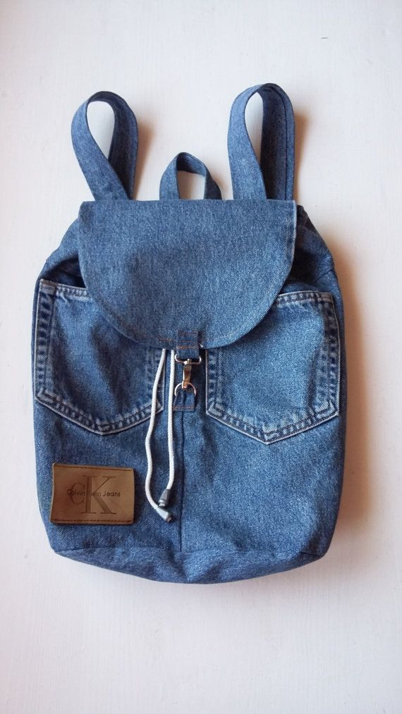 Teenage Denim Backpack / 90s Teenage Denim Backpack / Teenage Vintage Denim Backpack / Jean Backpack cK Patch / Teenage Fashion Backpack