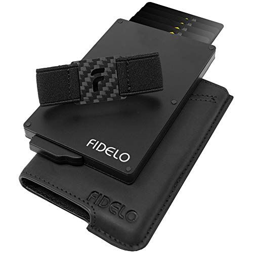 FIDELO Minimalist Wallet for Men – Slim Credit Card Holder RFID Mens Wallets and Leather Case