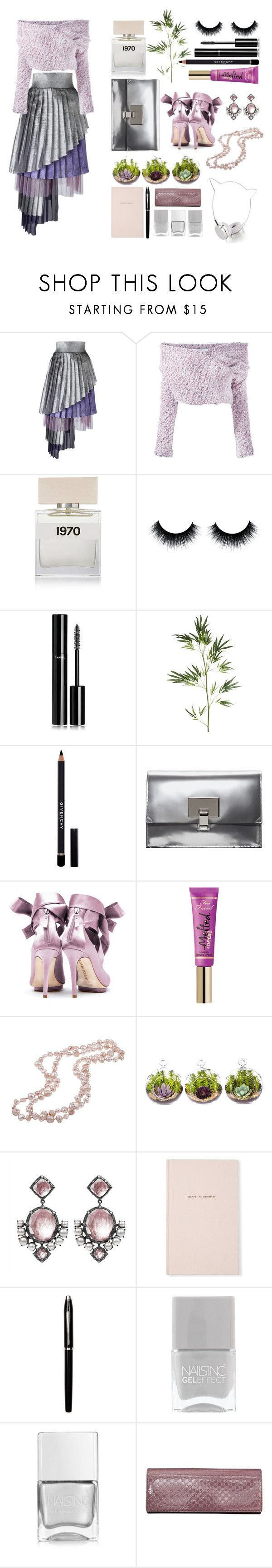 """""""daizy shely"""" by art-gives-me-life ❤ liked on Polyvore featuring Daizy Shely, Bella Freud, Chanel, Pier 1 Imports, Givenchy, Proenza Schouler, Liam Fahy, Too Faced Cosmetics, DaVonna and Larkspur & Hawk"""