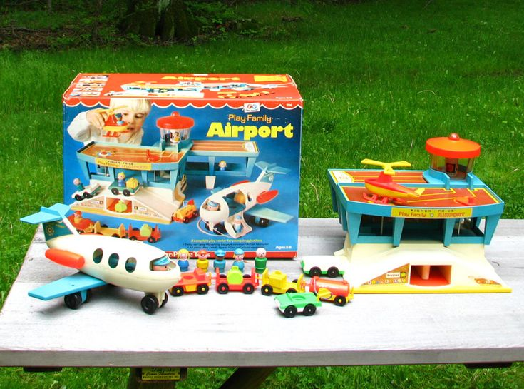 "I had and loved the Fisher-Price ""Play Family Airport"" (this was a few years before they were rebranded as part of the ""Little People"" line.) I was fascinated by the mechanism that turned the rotor on the helicopter and the baggage carousel at the same time. This was one of the most immersive toys I remember from the early '70s."
