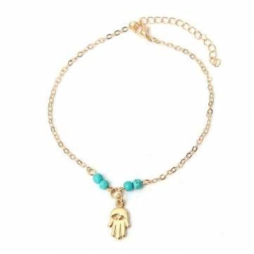 Fatima Beads Hamsa Hand  Foot Chain Anklet Bracelet