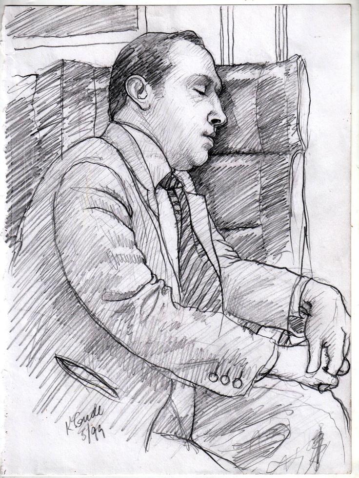 Sleeping man on my Metro North RR commute into NYC —Karl Gude