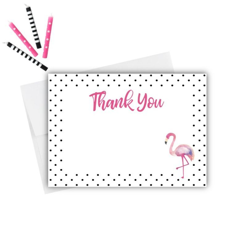 Thank Guests For Celebrating Your Child S Birthday With Fun And Modern Flamingo Thank You Cards Yo Thank You Cards Kids Birthday Themes Flamingo Birthday Party