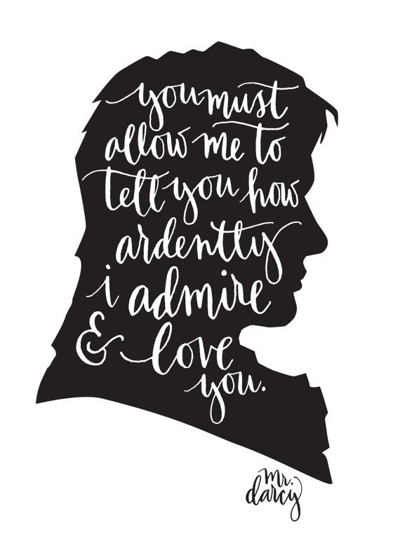 Mr. Darcy Jane Austen Quote Calligraphy Digital by MintAfternoon