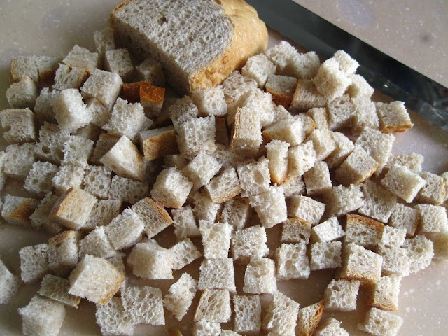 Homemade Croutons  Stale bread, Butter (unsalted)  Olive oil (optional)    Method  Preheat Airfryer for 2 -  3 mins @ 120C - 140C.  (Can use a higher temperature and cut down on the cooking time but don't go beyond 160C with Airfryer.)  Cube some stale bread to desired size. Toss in melted butter and olive oil until well coated.  Pour in cubed bread and cook for 2-3 mins.  Toss and fry for another 2 - 3 mins.  Cool completely and store in airtight container
