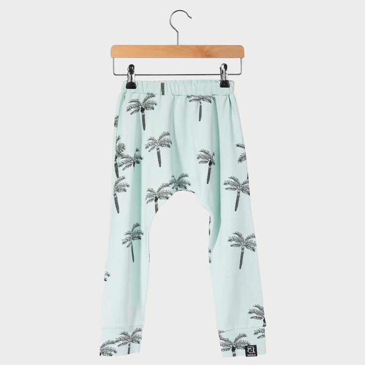 PALM BAGGY PANTS aquamarine