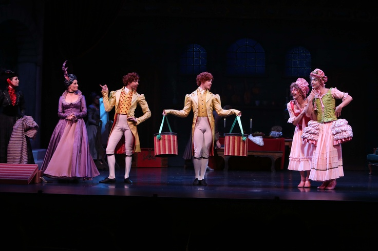 Soloist Nathan Scicluna and Company Dancer Rian Thompson as the Wigmaker and his Assistant with Ballet Mistress Janette Mulligan as the Evil Stepmother with Principal Matthew Lawrence and Guest Artist Paul Boyd as the Ugly Stepsisters  in Queensland Ballet's Cinderella    Photographer: David Kelly
