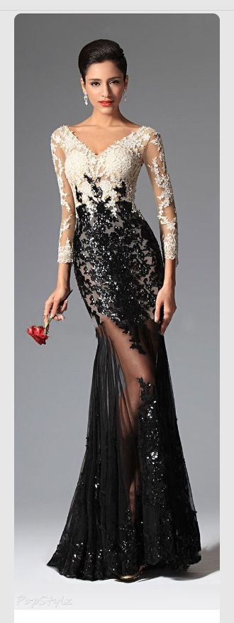 Lace black and white, with sleeves
