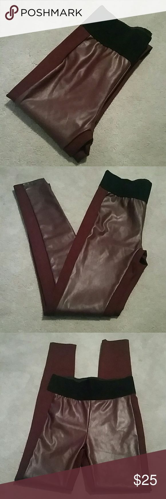 "NWOT Forever 21 Oxblood Leggings sz XS Brand new, never worn, no tags from a smoke and pet free home  High waisted, thick waistband, oxblood maroon leggings with faux leather panel down the front, not see through 68% rayon / 27% nylon /5% spandex  Approx Measurements : Waist 13"" Rise 10.5"" Inseam 29"" Forever 21 Pants Leggings"