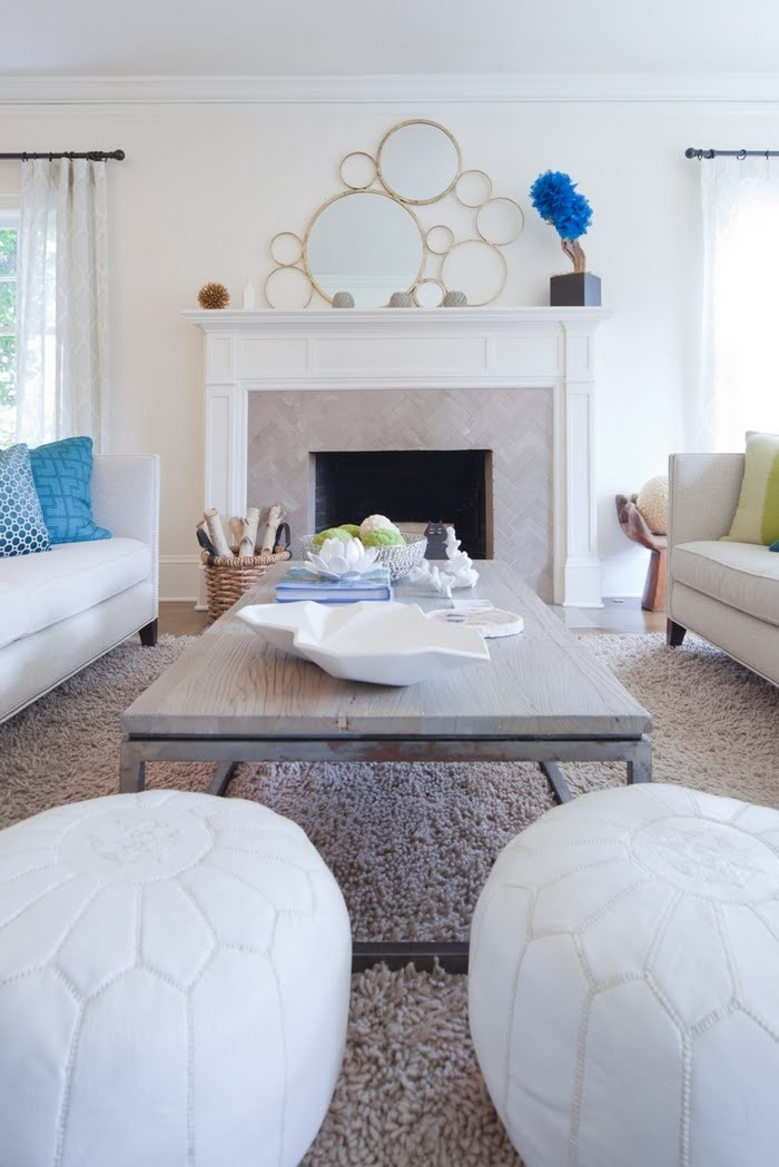 living room poufs%0A White Leather Moroccan Pouf in classic  glam living room   Vanillawood