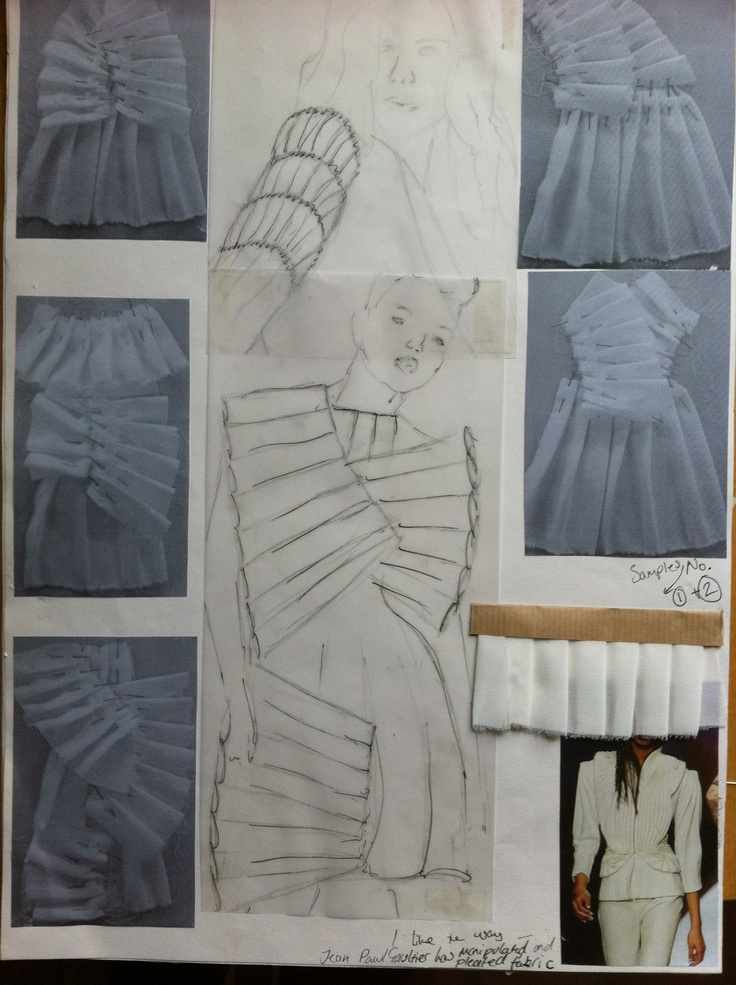 Fashion Sketchbook - fashion design sketches & experiments with pleat structures & fabric manipulation; fashion folio // Gaia Waters