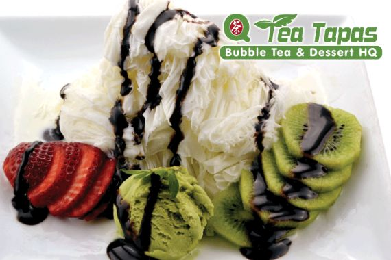 Q Tea Tapas -- Korean shaved ice, small plates, build-your-own chicken fingers or wings, bubble teas and smoothies... Right up our alley. (Fort Lee)