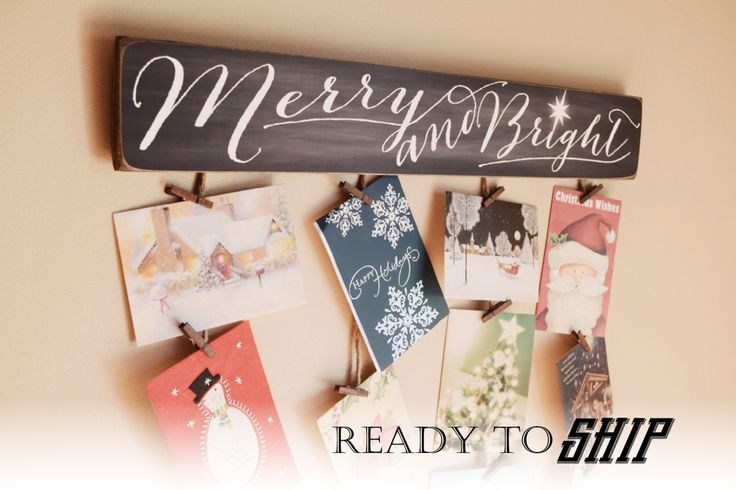 Merry & Bright Merry Mail - Christmas Card Holder - Christmas Card Hanger - Christmas Cards - Merry and Bright - Greeting Card Holder by BornOnBonn on Etsy