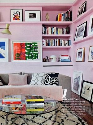 A bright and sunny Salon in cotton candy pink in Studio Maddox's St Sulpice flat, as featured in Germany's Schøner Wohnen Magazine (October 2015)