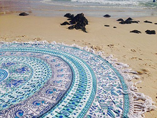 Handicrunch Indian Mandala Round Roundie Beach Throw Tapestry Hippy Boho Gypsy Cotton Peacock Tablecloth Circle of Flowers Beach Towel Round Yoga Mat