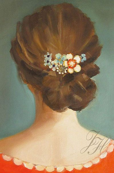 Lovely oil painting of flowers in her hair. Janet Hill