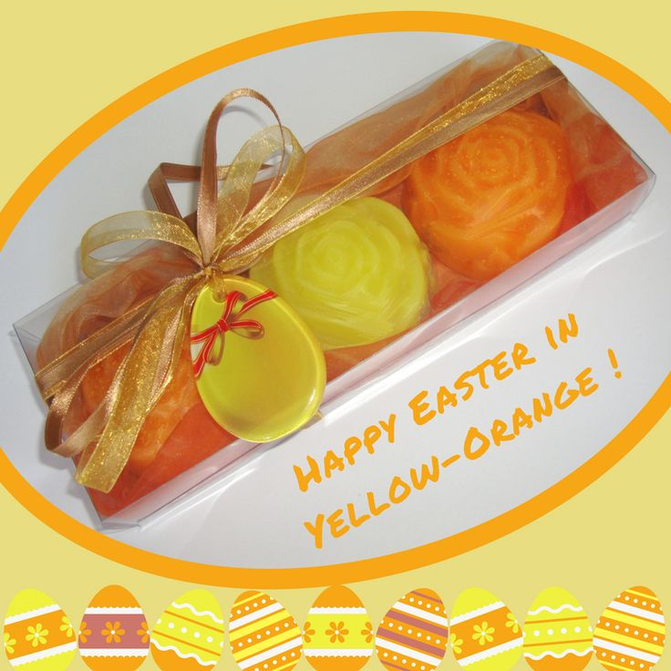 Handmade Gift Set in Orange Color with 3 Floral Luxury Glycerin Scented Soaps and a special handmade glass decorative Yellow-Orange Easter Egg in the packaging. The glass decorative Easter Egg can also be used as Necklace or Easter ornament. A very elegant, stylish hostess gift idea for Easter.