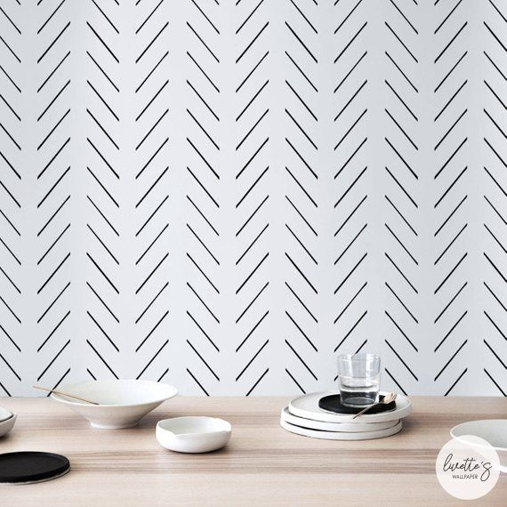 Modern Delicate Herringbone Wallpaper In Black And White Scandinavian Design Removable Self Adhesive Traditional Material Herringbone Wallpaper Scandinavian Design Traditional Wallpaper