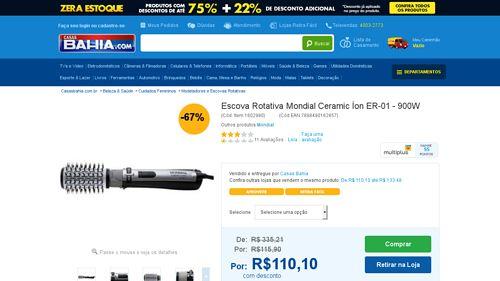 [Casas Bahia] Escova Rotativa Mondial Ceramic Íon ER - 01 - 900W 110V - de R$ 107,73 por R$ 104,31 (3% de desconto)