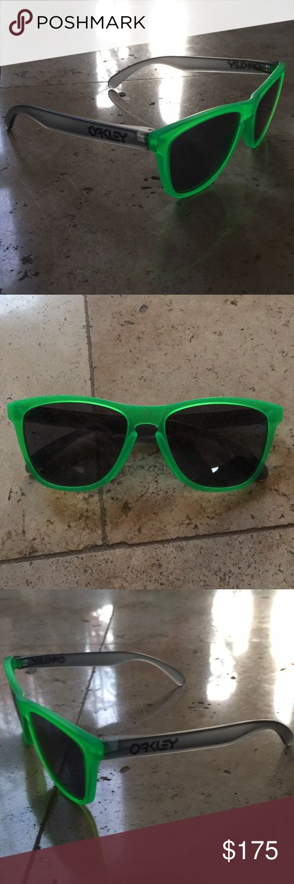 Limited edition Oakley Frogskins Smoke/Neon Green Brand New Limited Edition Oakley Frogskins Smoke/Neon Green. Made in the USA 24-286 55O17 133 Oakley Accessories Sunglasses