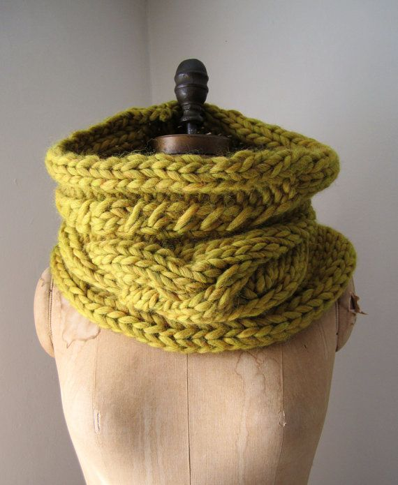 oversized cable knit cowl = good way to use yarn spun too bulky