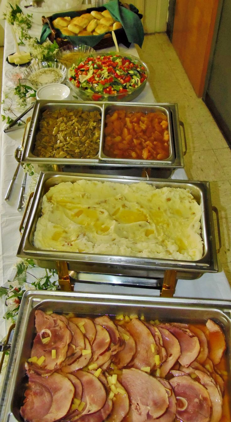 Buffet for wedding w/ ham, smashed potatoes, green beans